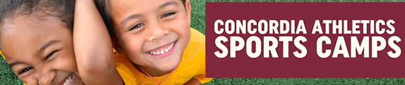 concordia sport camps two children playing on soccer field